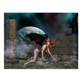 Vampress Redheaded 1 - cartão da fantasia/vampiro