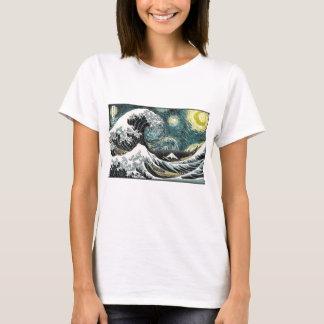 Van Gogh a noite estrelado - Hokusai a grande onda Camiseta