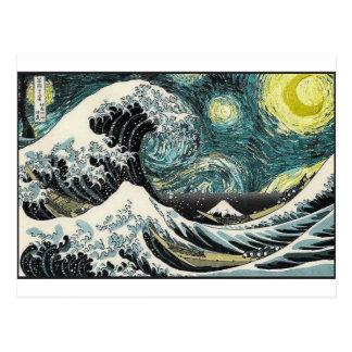 Van Gogh a noite estrelado - Hokusai a grande onda Cartão Postal