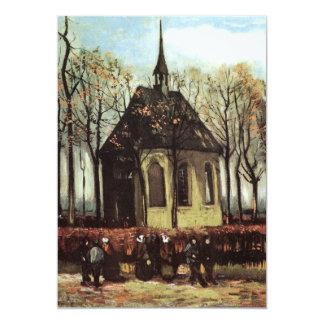 Van Gogh; Assembleia que sae da igreja reformada Convite