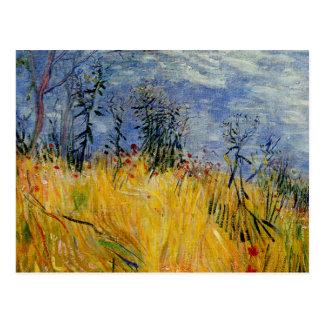 Van Gogh - borda de um campo de trigo com papoilas Cartão Postal