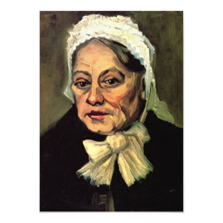 Van Gogh, cabeça da mulher adulta, boné branco Convite 12.7 X 17.78cm