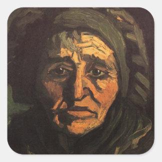 Van Gogh; Cabeça da mulher do camponês, boné Adesivo Quadrado