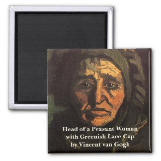 Van Gogh; Cabeça da mulher do camponês, boné Ímã Quadrado