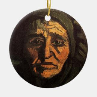 Van Gogh; Cabeça da mulher do camponês, boné Ornamento De Cerâmica Redondo
