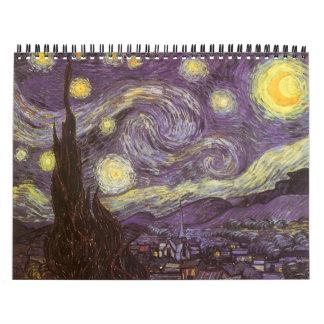 Van Gogh calendário do De volta-School de 18 meses