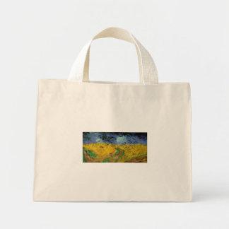 Van Gogh - campo de trigo com corvos (1890) Sacola Tote Mini