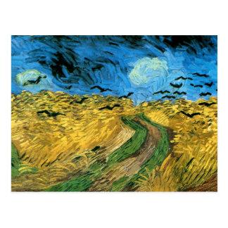Van Gogh - campo de trigo sob o céu de Threatning Cartões Postais