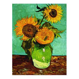 Van Gogh - girassóis, três Cartão Postal