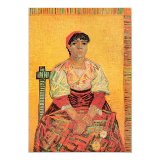 Van Gogh, mulher italiana, arte do retrato do Convite 12.7 X 17.78cm