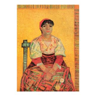 Van Gogh, mulher italiana, arte do retrato do vint Convite