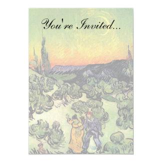 Van Gogh - paisagem com passeio do casal Convite 12.7 X 17.78cm