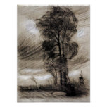 Van Gogh - paisagem no clima de tempestade Pôsteres
