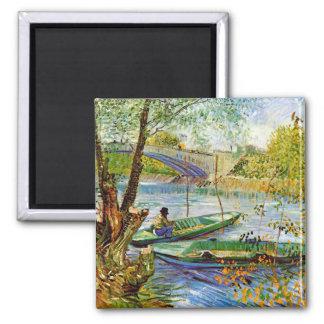 Van Gogh - pescando na primavera Ímã Quadrado