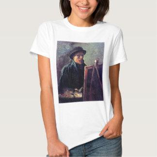 Van Gogh - retrato de auto com o chapéu de feltro T-shirts
