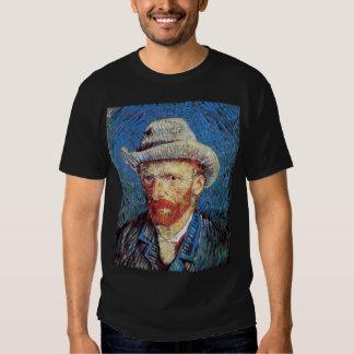 Van Gogh - retrato de auto com o chapéu de feltro Tshirt