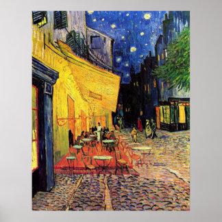 Van Gogh; Terraço do café na noite, belas artes do Poster