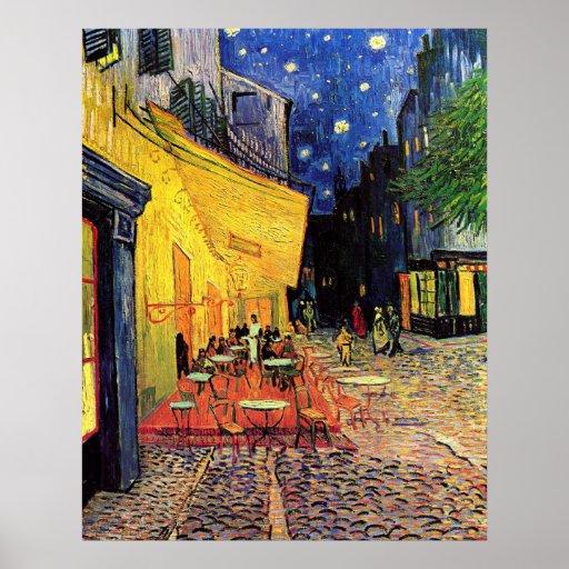 Van Gogh, terraço do café na noite, belas artes do Poster