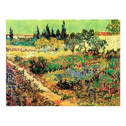 Van Gogh; Trajeto de florescência do jardim, fazen Cartões Postais