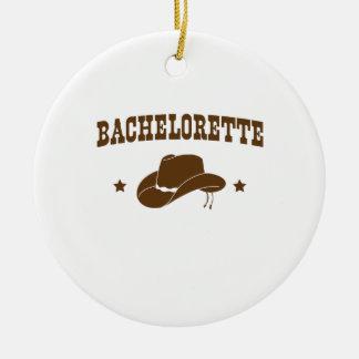 Vaqueira Bachelorette Ornamento De Cerâmica Redondo