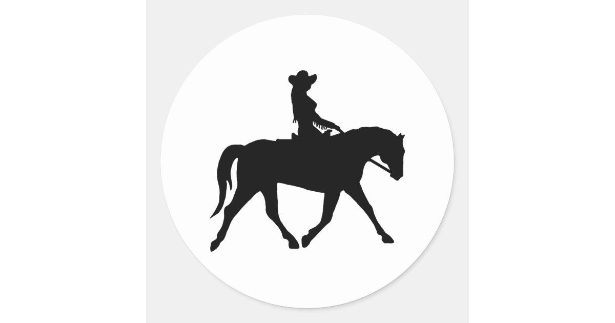Vaqueira que monta seu cavalo adesivo   Zazzle