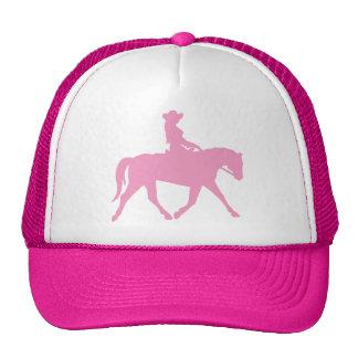 Vaqueira que monta seu cavalo (rosa) boné