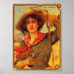 """Vaqueira """"rainha poster vintage do rancho"""""""