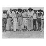 Vaqueiras nos dias da fronteira de Cheyenne, 1929. Cartão Postal