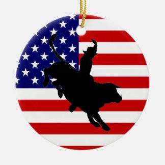 Vaqueiro americano ornamento de cerâmica redondo