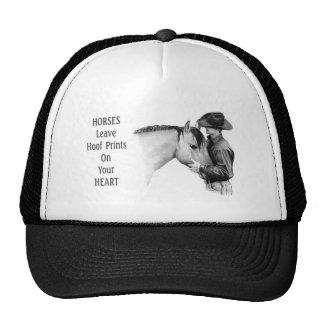 Vaqueiro: Cavalos: Impressões do casco: Desenho de Boné