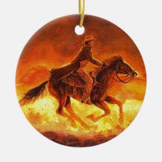 Vaqueiro da equitação ornamento de cerâmica redondo