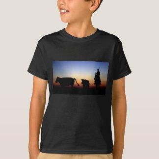 Vaqueiro do por do sol camiseta