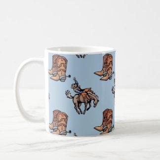 Vaqueiro do rodeio, botas ocidentais, cavalo, país caneca