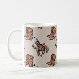 Vaqueiro do rodeio, botas ocidentais, cavalo, país canecas