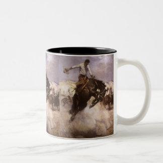 Vaqueiro do rodeio do vintage, equitação ventoso caneca dois tons