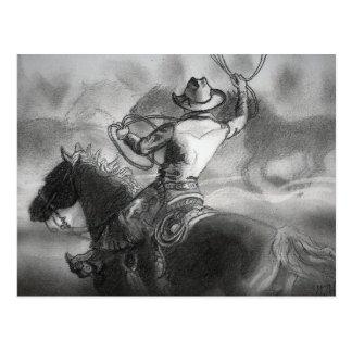 Vaqueiro no cartão dos trabalhos de arte do cavalo