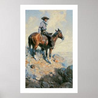 Vaqueiro ocidental idoso do poster do impressão da