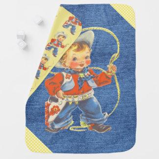 Vaqueiro pequeno retro ocidental com cobertura da cobertor para bebe