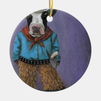 Vaqueiro real ornamento de cerâmica redondo