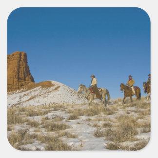 Vaqueiros no cavalo de equitação de Ridge através Adesivo Em Forma Quadrada