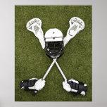 Varas do Lacrosse, luvas, bolas e capacete dos esp Impressão