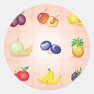 Várias etiquetas das frutas