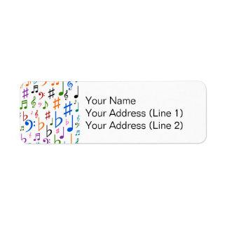 Vários notas musicais e símbolos etiqueta endereço de retorno