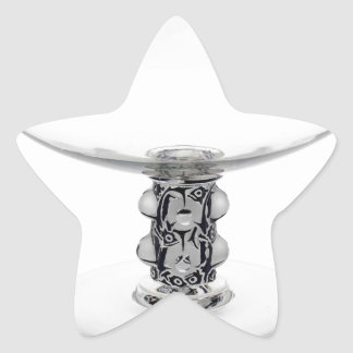 Vaso claro do vidro do art deco adesito estrela