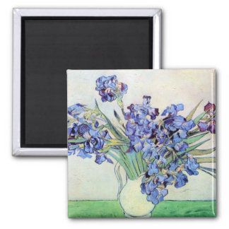 Vaso com íris, belas artes florais de Van Gogh do Ímã Quadrado