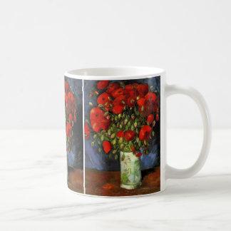 Vaso com papoilas vermelhas, arte de Van Gogh da Caneca