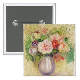 Vaso das flores (óleo em canvas) bóton quadrado 5.08cm