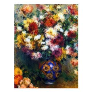 Vaso de belas artes dos crisântemos por Renoir Cartão Postal