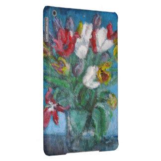 Vaso de flores das tulipas na sala azul floral capa para iPad air