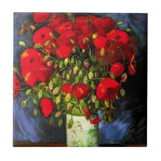 Vaso de Van Gogh com o azulejo vermelho das papoil